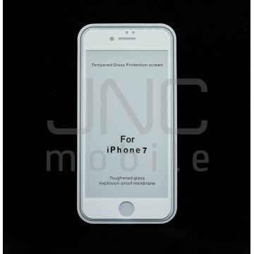 Film protection verre trempé 0,33mm Couverture totale iPhone 7 Blanc