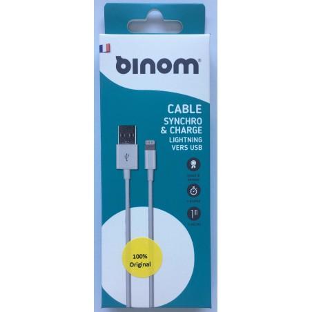 Câble Original 1m USB iPhone 5/5S/5C/SE/6/6+/6S/6S+/7/7+/8/8+/X - Blanc