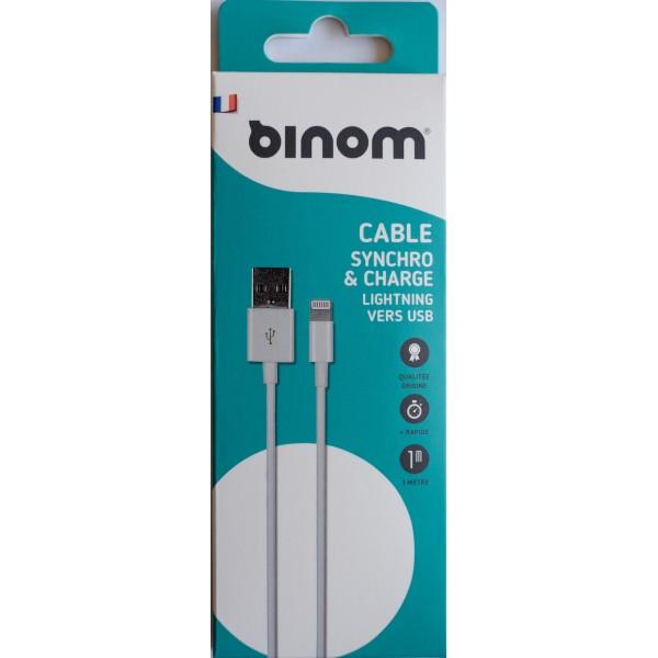 Câble 1m USB Binom iPhone 5 TaiwanIC - Blanc