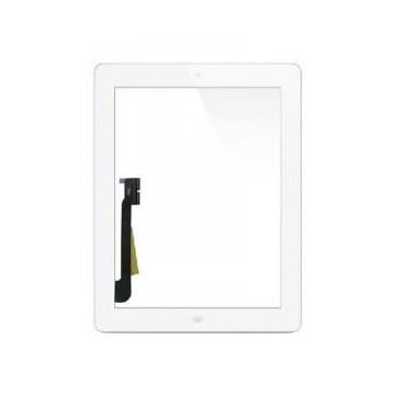 Écran tactile iPad 4 avec bouton home et adhésif - Blanc