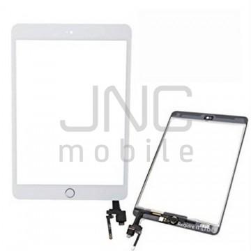 Écran tactile iPad Mini 3 avec bouton home et adhésif - Blanc