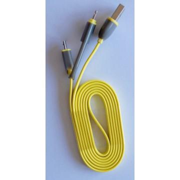 Câble 1m USB 2en1 iPhone 5 et Android - Jaune
